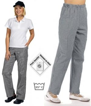Pantalon de cuisine femme ou homme, ceinture élastiquée, pied de poule noir blanc