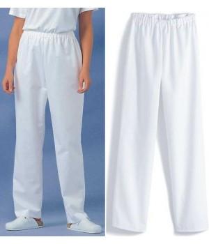 pantalon blanc unisexe, ceinture élastique, Entretien facile, peut bouillir à 95 °C, polyester coton