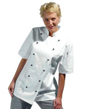 Veste de cuisine femme, manche courte, forme cintrée, coton sergé, peut bouillir