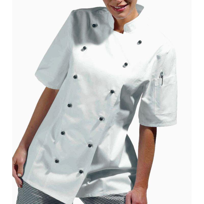 veste de cuisine femme manches courtes cintr e coton serg. Black Bedroom Furniture Sets. Home Design Ideas