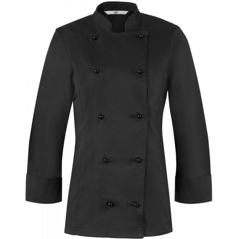 veste de cuisine femme noire l g rement cintr e col officier. Black Bedroom Furniture Sets. Home Design Ideas