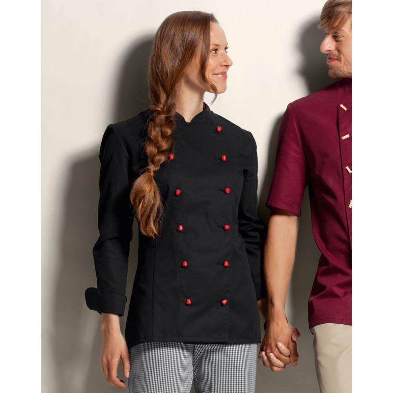 Veste de cuisine femme noire manches longues peut bouillir for Veste de cuisine brodee
