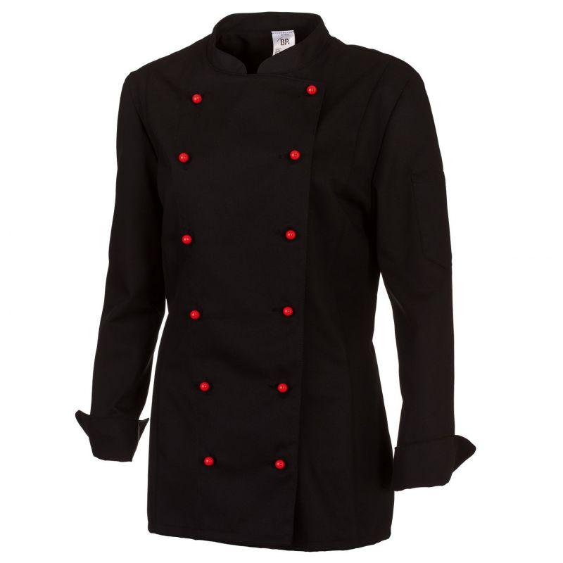 Veste de cuisine femme noire manches longues peut bouillir Veste de cuisine orange