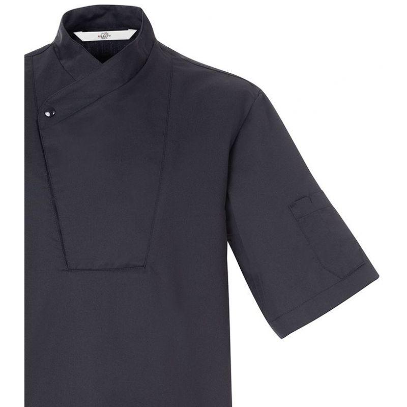 veste de cuisine noire manches courtes boutons pression. Black Bedroom Furniture Sets. Home Design Ideas