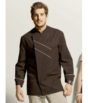 Veste de cuisine grand Chef, Chocolat avec passepoil et rayures Ecru