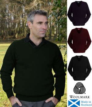 Pullover homme Vert Taille L, Laine d'agneau d'Ecosse Col en V