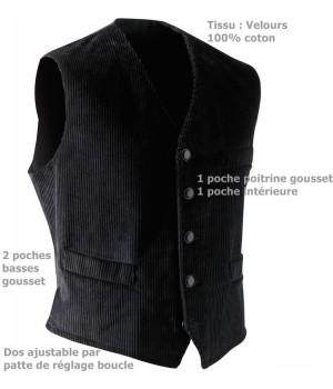 Gilet Velours 100 % coton, mercerie de qualité, Adolphe Lafont