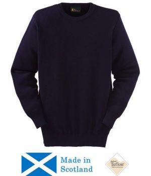 Pull homme, bleu marine, col rond, laine mérinos et acrylique, traité Téflon anti taches et anti boulochage