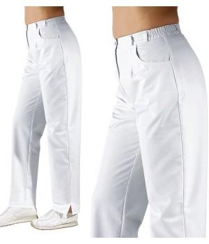Pantalon blanc femme, taille élastiquée au dos, Entretien facile, peut bouillir