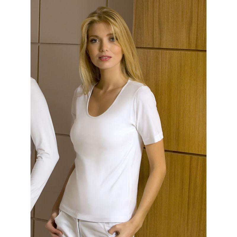 d13dbb72a T-shirt blanc, Manches courtes, Col rond danseuse, Cintré, Coton Lycra