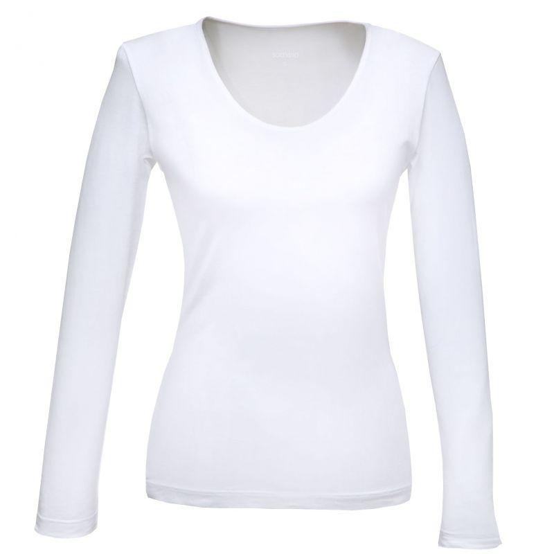 b02b22410b3fc ... Tee shirt col danseuse manche longue blanc extensible ...