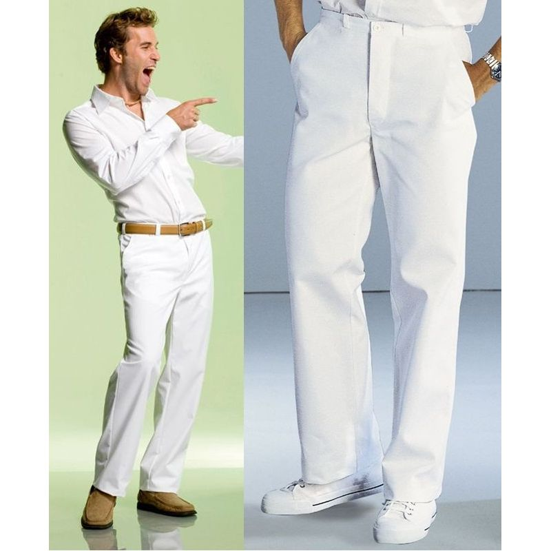 pantalon blanc homme 100 coton. Black Bedroom Furniture Sets. Home Design Ideas