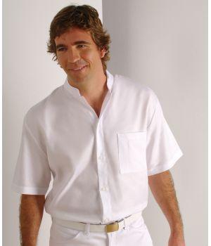 Chemise homme, manche courte, col officier, coton