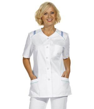 Blouse courte à manches courte, pour femme, bordure de couleur aux épaules
