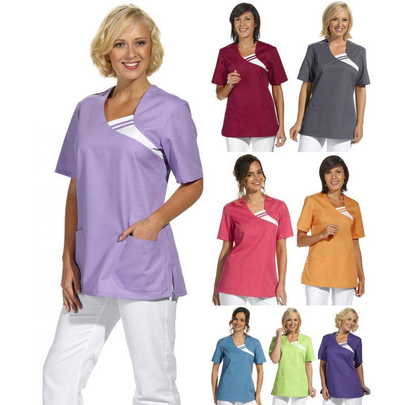 tunique femme manches courtes enfiler couleur 2 poches - Blouses Medicales Colores