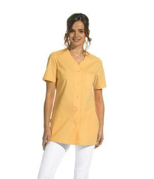 Blouse couleur à manches courtes, Boutons pression, 2 poches latérales, 1 poche poitrine
