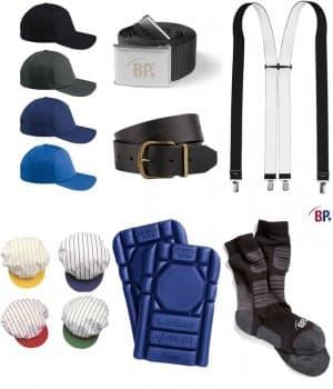 Casquettes, Ceintures, Chaussettes, Plaques protection, Bretelles