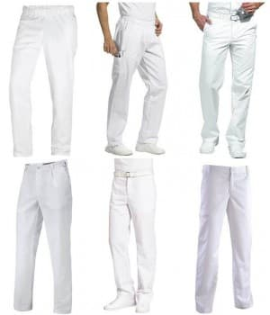 Pantalons blancs polyester coton Homme