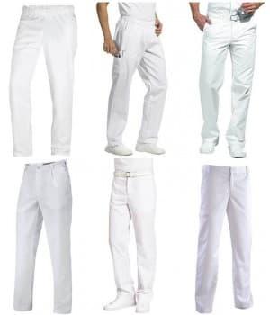 Pantalons blancs polyester coton Homme