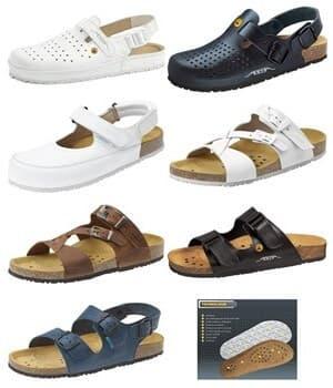 Chaussures confort, à première en liège habillée de cuir