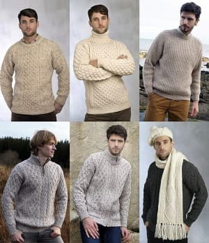 Pull Irlandais Homme, Sweater, Veste, Écharpe, Bonnet