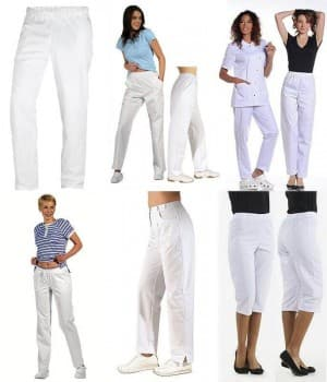 Pantalons Blancs Femme, taille normale, polyester coton