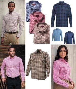 Chemises à carreaux homme et femme